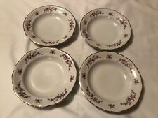 4 Vintage Walbrzych Soup Bowls Made in Poland Floral design