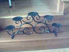 PARTYLITE BLACK WROUGHT IRON SCROLL CANDLE HOLDER MANTEL CENTERPIECE