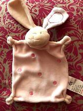 J # peluche doudou plat carré lapin beige écru rose pois brodés BEBE ABSORBA TBE
