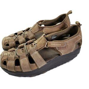 Skechers Shape Ups Brown Walking Leather Sandals Shoes Women's Size 9.5 11805