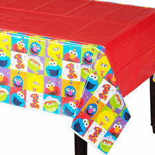 SESAME STREET Elmo Turns One PLASTIC TABLE COVER ~ Birthday Party Supplies Cloth