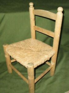 SMALL RUSH SEAT WOODEN CHAIR - CHILD, TEDDY BEAR OR DOLL - 44cm HIGH