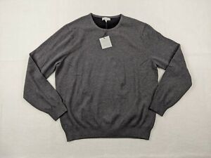 New Hickey Freeman Sweater Adult Large Men Cotton Cashmere Crew Neck Gray