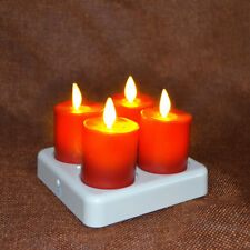 4 Luminara Rechargeable Tea Lights Flameless Led Candles Red, Unscented Timer