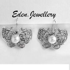 So Beautiful BUTTERFLY Earrings Made in 925 Sterling Silver Freshwater Pearl