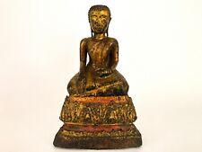 "19th Century Antique Gilt Gold Bronze Buddha EARTH WITNESS MUDRA Statue 6.5"""