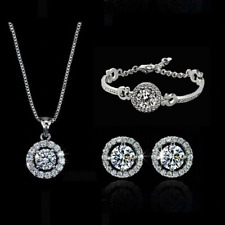 18k White Gold GP Crystal Earrings Necklace Bracelet Jewelry Set