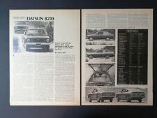Vintage 1973 Datsun B210  -  Original 2 Page Article