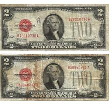 1928C $2.00 Lot of 2 notes, no tears or pinholes used