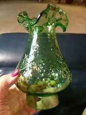 "Kanawha Green Glass Hurricane Oil Lamp Globe Chimney Shade Grape vintage Rare 3"""