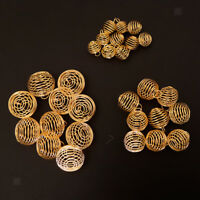 30pcs Gold Plated Spiral Bead Cages Pendants DIY Jewelry Making(15/25/30mm)