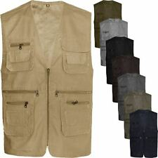 Mens Multi Pocket Utility Waistcoat Summer Mesh Lined Fishing Travelling Hiking