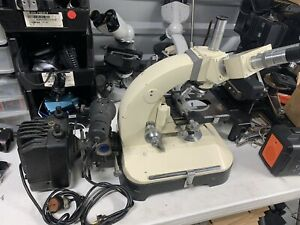 Reichert Zetopan Trinocular Microscope with 4 objectives and lamp housing
