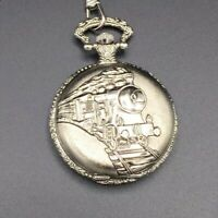 Pocket Watch Train Emblem Geneva Silver Toned With Chain Works New Battery