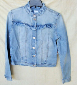 KENSIE STRETCH LIGHT BLUE FOREVER DENIM JACKET WITH RUFFLES  WOMEN'S SMALL NWT