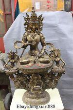 """41"""" Tibet Bronze Gilt Gem Vajrasattva Vajradhara kwan-yin GuanYin buddha Statue"""