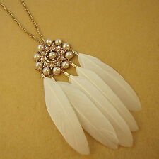 Women Girl Feather Pearl DREAM CATCHER Retro Bohemian long Necklace Xmas gift