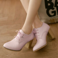 Women's Block High Heels Lace up Oxfords Pointed Toe Casual Low Top Shoes Size
