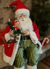 "NWT Large 28"" Red Green Santa holding Elf Doll Christmas Figure Display Prop"