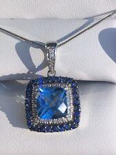 $1,995 Levian 14K White Gold Blue Topaz Sapphire Round Diamond Pendant Necklace