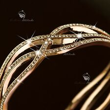 18k rose gold gf made with SWAROVSKI crystal wide openable bangle bracelet