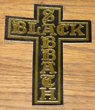 BLACK SABBATH VINTAGE CIRCA 1980 STAMPED GOLD LEATHER CROSS SEWING SEW ON PATCH