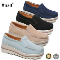 New Women's Suede Slip on Platform Block Wedge Heel Shoes Casual Sneakers Loafer