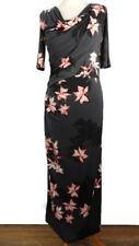 NEW £49 Per Una M&S 10 Long Grey Floral Ruched Dress Pink Black Party Tall