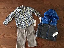 NWT Calvin Klein Jeans Baby Boys 3 Piece Set : Hooded Vest, Shirt, Jeans, Sz 12M