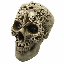 Large Gothic Skull Decorated with Skeletons and Cross Ornament Figure