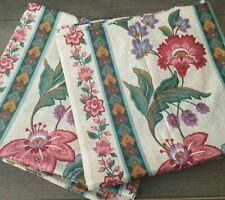 """Ikea French Provencal Floral Sateen Curtain Drape Set (2) Made in France 56x104"""""""