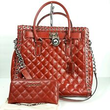 Michael Kors Hamilton Tote Bag Satchel Optic Red Leather QuiltPurse Large NS NEW