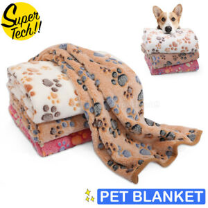 Pet Mat Paw Print Cat Dog Puppy Fleece Soft Pet Blanket Bed Cushion SML Size