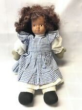 "Vintage African American Small 9"" Doll Porcelain Head Gingham Cotton Soft body"