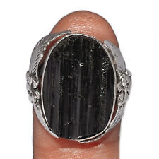 Black Tourmaline Rough 925 Sterling Silver Ring Jewelry s.7 AR194974 194Z