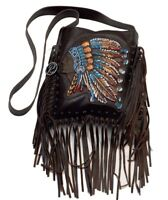 Raviani Western Brown Leather Crossbody W/ Indian & Fringe-Studs