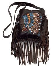 Raviani Brown Leather Crossbody W/ Hand Painted Indian Head Logo & Fringe-Studs