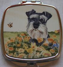 Schnauzer Miniature Dog Handbag Compact Mirror Watercolour Print Sandra Coen Art