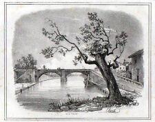 Stampa antica PONTE di GAGGIANO naviglio Milano Giuseppe Elena 1835 Old print
