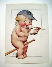 """Vintage Print of """"Kewpie"""" by """"Rose O'Neill"""" w/ Kewpie Wearing Baseball Cap*"""