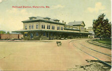 POSTED Div/B 1911 POSTCARD RAILROAD STATION WATERVILLE MAINE