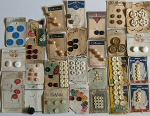 ANTIQUE LOT Buttons All Original Cards Pearl Baby Uniform Assort VERY OLD 155+