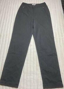 Vanilla Grey Jersey Trousers Size 10 Cotton Blend Zip Pockets Woman's Straight