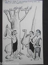 "CLIFFORD C LEWIS ""CLEW"" Original Pen & Ink Cartoon - Cavemen Clubbing #330"