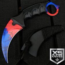 "7.5"" MARBLE FADE FIRE & ICE Hunting Karambit Fixed Blade Neck Knife w/Sheath"