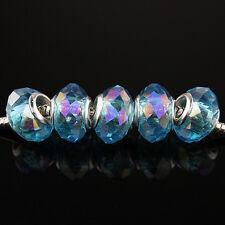 Lots Facet Crystal Glass Rondelle Silver Charm Beads for European Bracelet