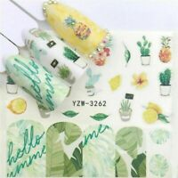 Nail Art Water Decals Stickers Transfers Summer Lemons Cactus Daffodil (3262)