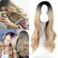 Women Long Wavy Hair Full Wig Black Root Blonde Ombre Wigs Fashion Style
