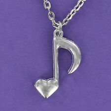 Music Heart Necklace - Large Eighth Note Adjustable Cable Chain Musician NEW