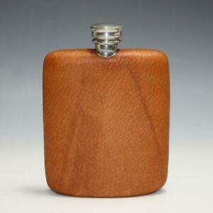 Vintage Dunhill Leather Covered 5 Oz English Pewter Hip Flask